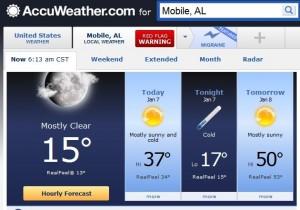 Mobile 15 degrees