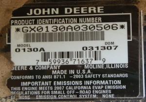 JD Lawn Tractor ID Tag