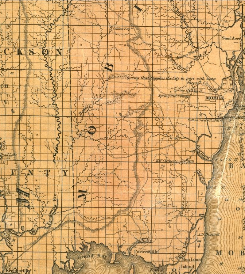 1833 map of SW Mobile Co. AL and Jackson Co. MS