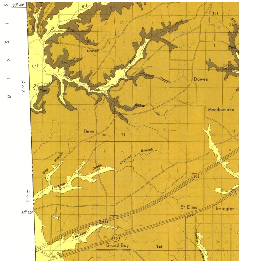 1970 Geological Map of southwest Mobile Co.