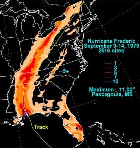 Hurricane Fredericks track